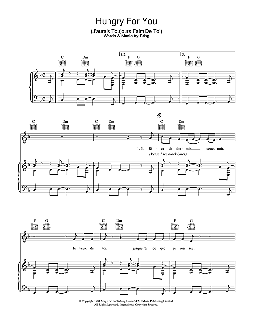 Hungry For You (J'aurais Toujours Faim De Toi) Sheet Music