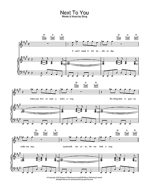 Next To You Sheet Music