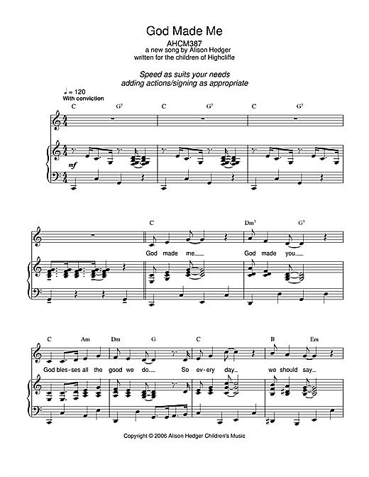 God Made Me (Piano, Vocal & Guitar (Right-Hand Melody))