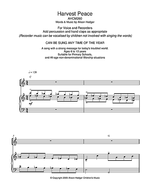 Harvest Peace Sheet Music