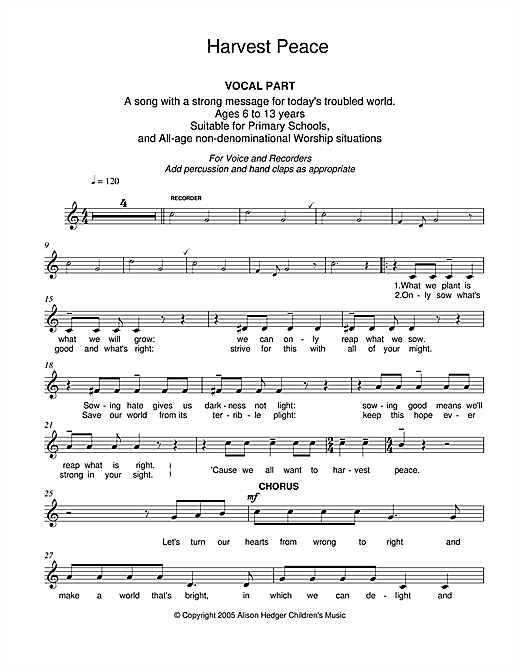 Harvest Peace (Vocal Part) (Lead Sheet / Fake Book)