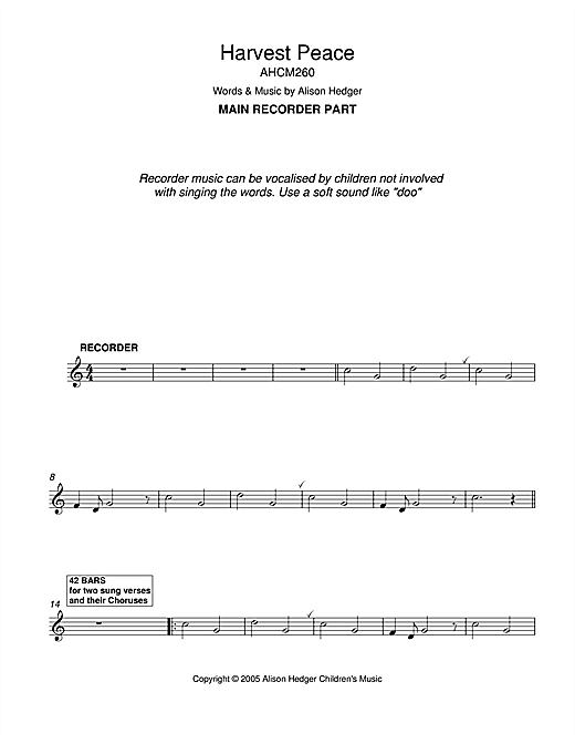 Harvest Peace (Recorder Part) Sheet Music