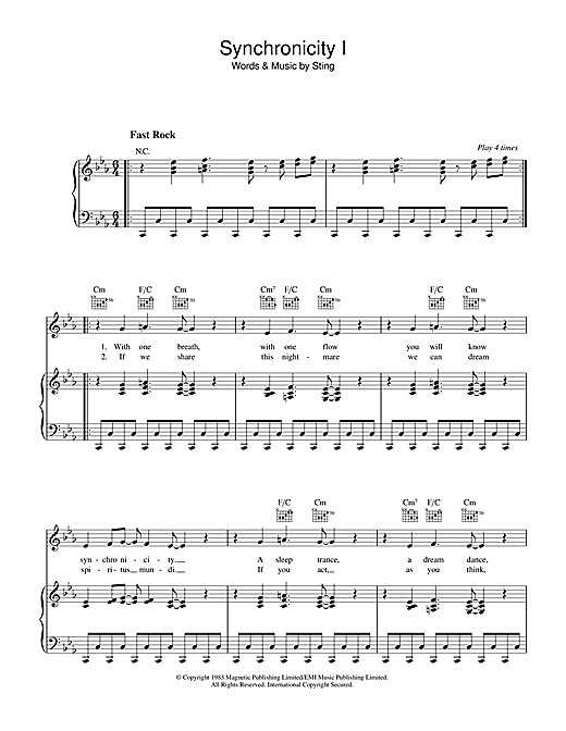 Synchronicity I (Piano, Vocal & Guitar (Right-Hand Melody))