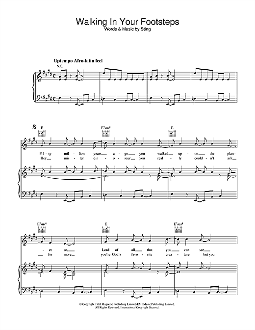 Walking In Your Footsteps Sheet Music