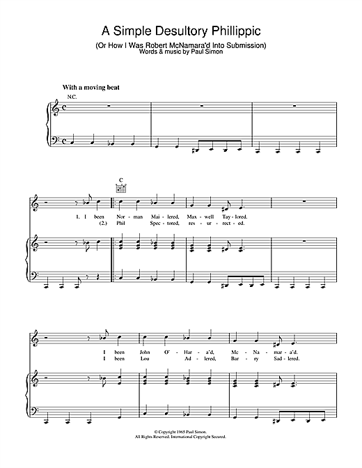 A Simple Desultory Philippic (Or How I Was Robert McNamara'd Into Submission) Sheet Music