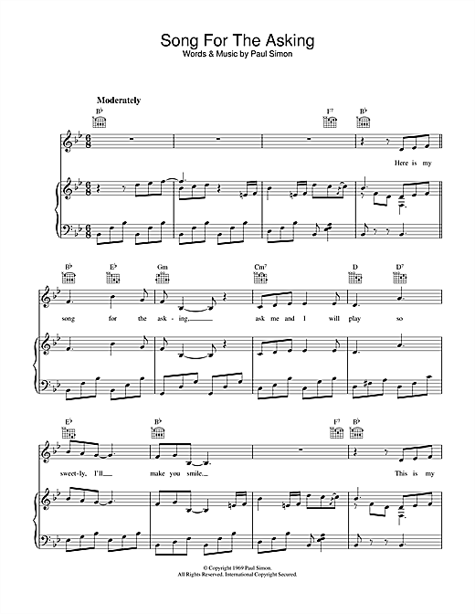 Song For The Asking Sheet Music