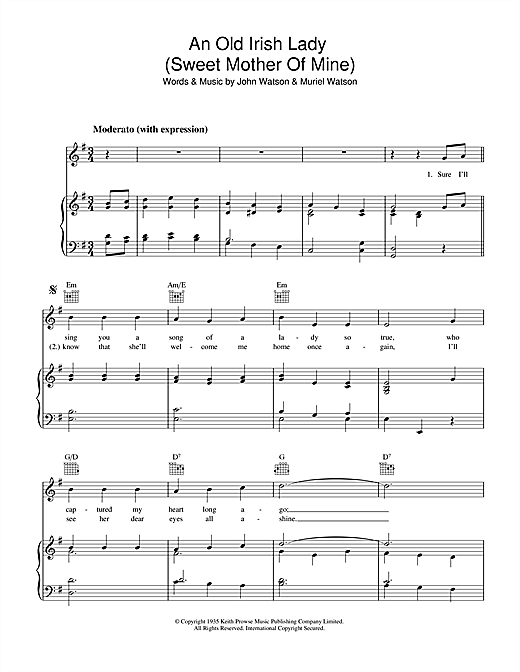 An Old Irish Lady (Sweet Mother Of Mine) Sheet Music