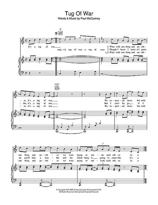 Tug Of War Sheet Music