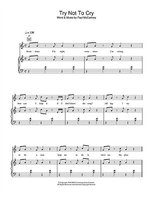 Try Not To Cry Sheet Music