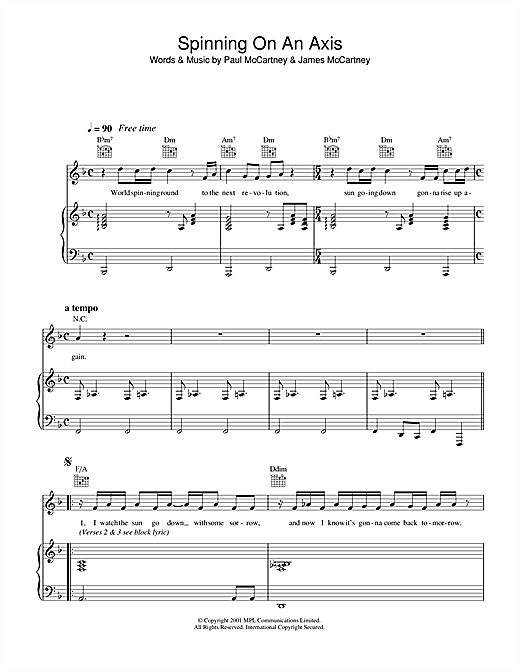 Spinning On An Axis Sheet Music