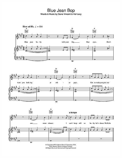 Blue Jean Bop Sheet Music