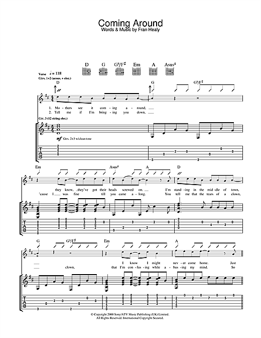 Coming Around Sheet Music