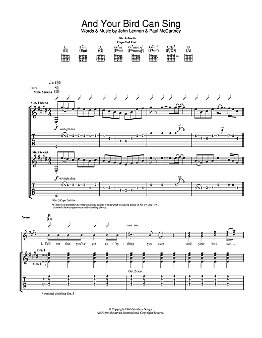 Tablature guitare And Your Bird Can Sing de The Beatles - Tablature Guitare