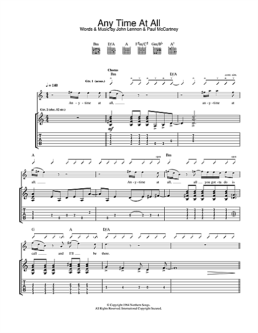 Tablature guitare Any Time At All de The Beatles - Tablature Guitare