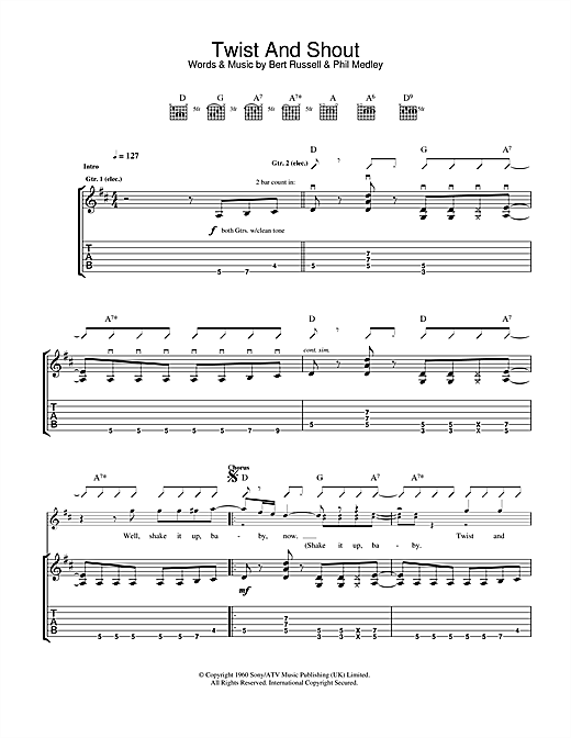 Tablature guitare Twist And Shout de The Beatles - Tablature Guitare
