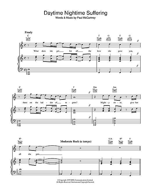 Daytime Nightime Suffering Sheet Music