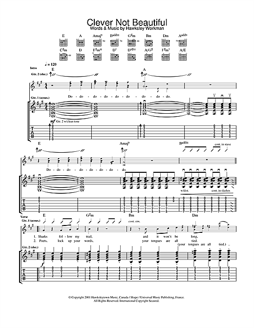 Clever Not Beautiful (Guitar Tab)