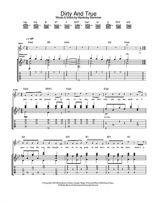 Dirty And True (Guitar Tab)