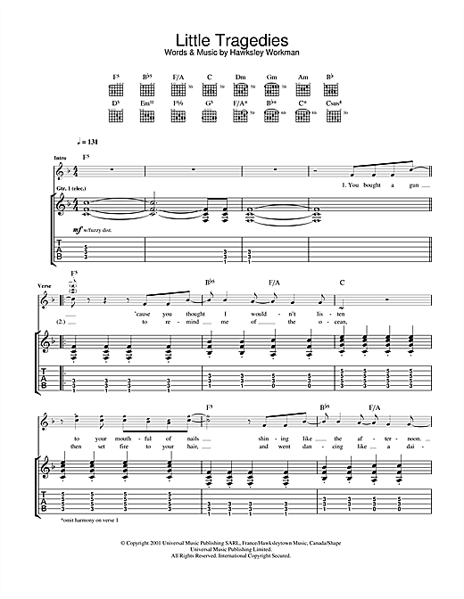 Tablature guitare Little Tragedies de Hawksley Workman - Tablature Guitare