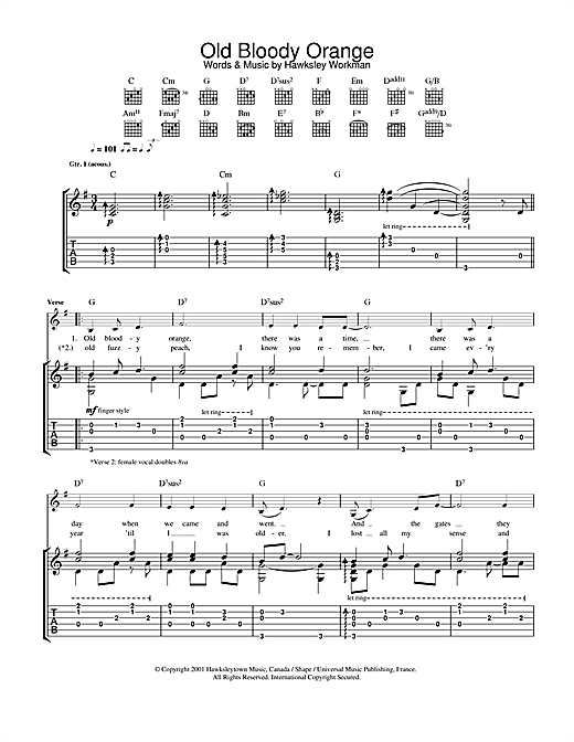Old Bloody Orange (Guitar Tab)