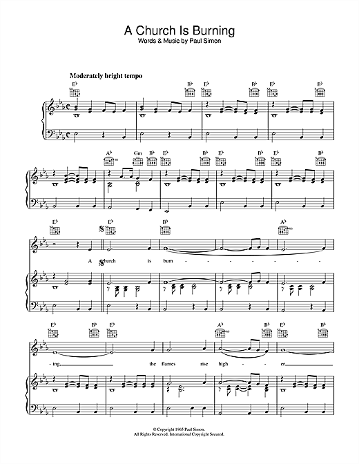 A Church Is Burning (Piano, Vocal & Guitar (Right-Hand Melody))