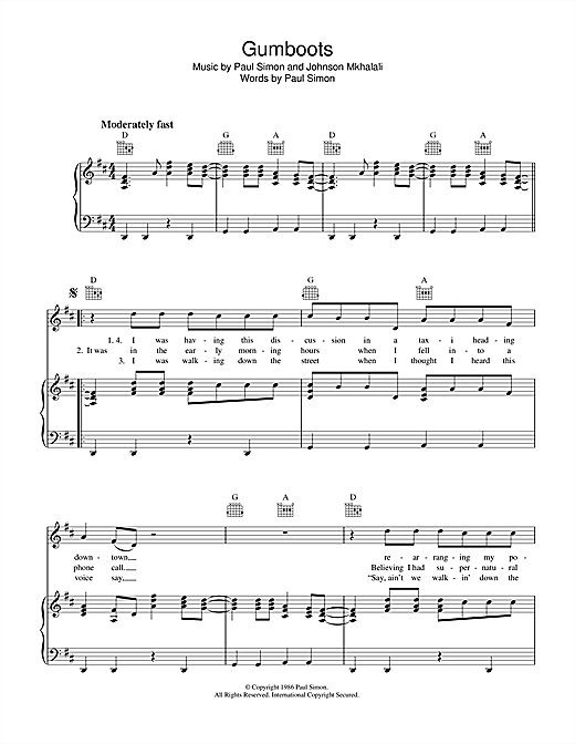 Gumboots (Piano, Vocal & Guitar (Right-Hand Melody))