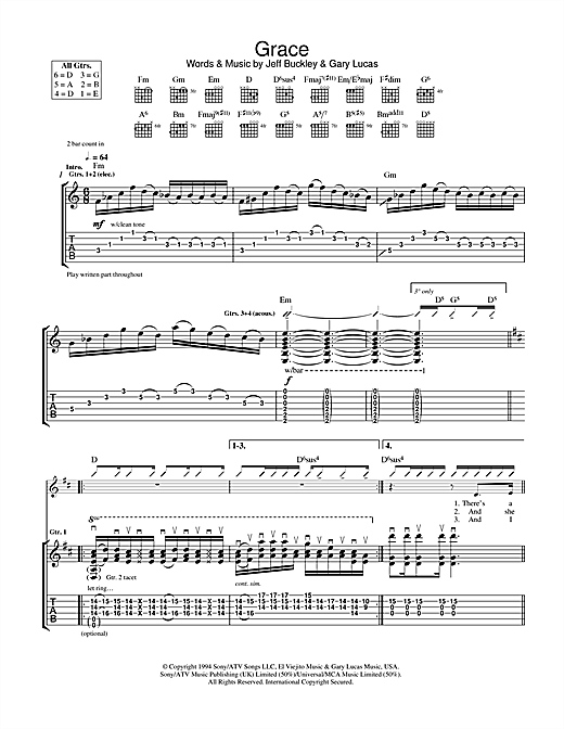 Tablature guitare Grace de Jeff Buckley - Tablature Guitare