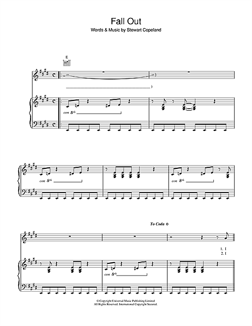 Fall Out (Piano, Vocal & Guitar (Right-Hand Melody))