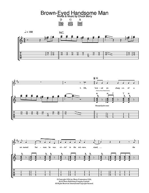Tablature guitare Brown Eyed Handsome Man de Chuck Berry - Tablature Guitare