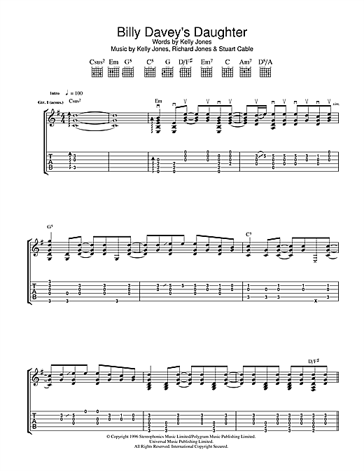 Tablature guitare Billy Davey's Daughter de Stereophonics - Tablature Guitare
