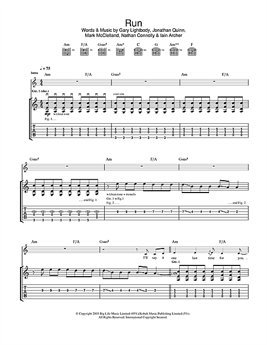Tablature guitare Run de Snow Patrol - Tablature Guitare