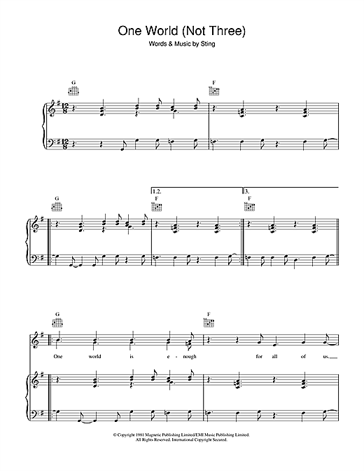 One World (Not Three) Sheet Music