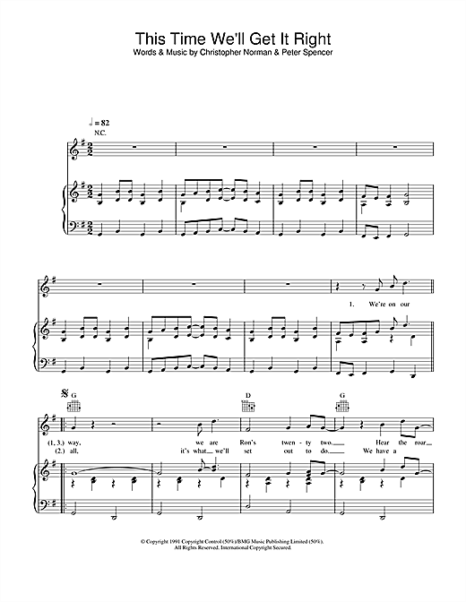 Partition piano This Time (We'll Get It Right) de England World Cup Squad - Piano Voix Guitare