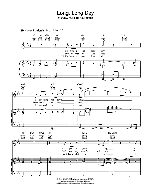 Long, Long Day (Piano, Vocal & Guitar (Right-Hand Melody))