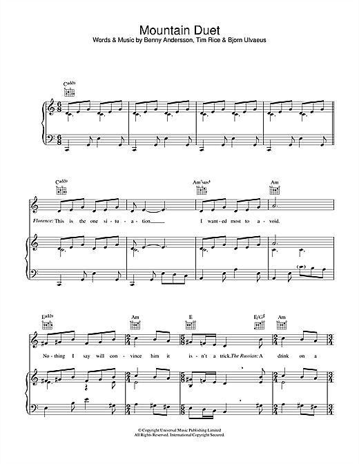 Mountain Duet (from Chess) (Piano, Vocal & Guitar (Right-Hand Melody))