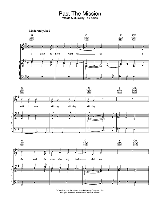 Past The Mission Sheet Music