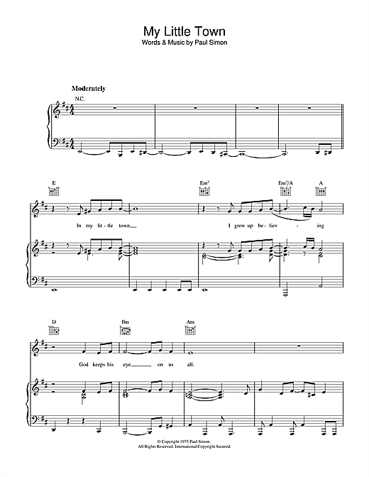 My Little Town Sheet Music