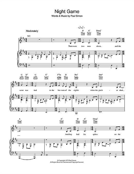 Night Game Sheet Music