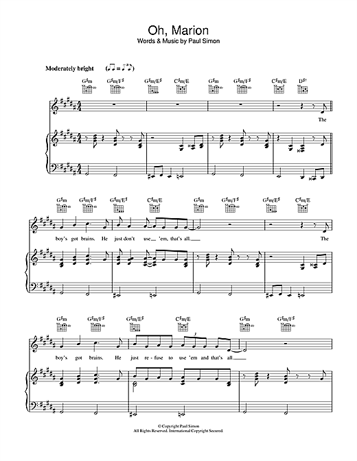 Oh, Marion Sheet Music
