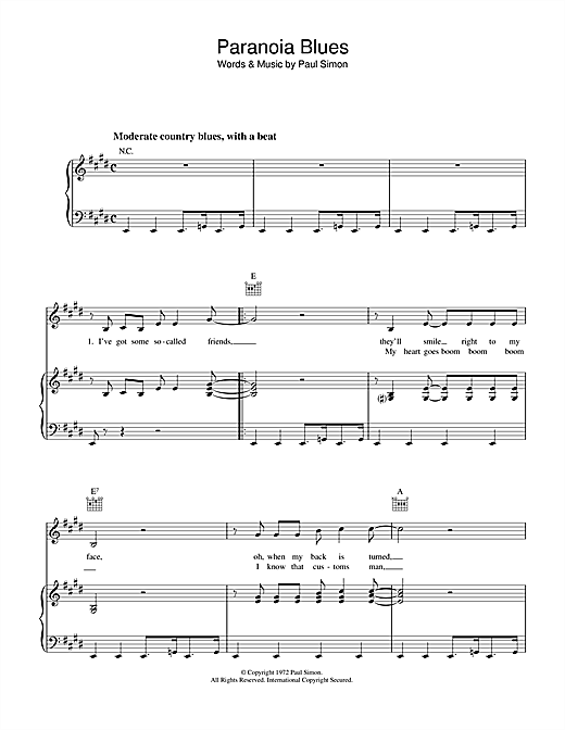 Paranoia Blues Sheet Music