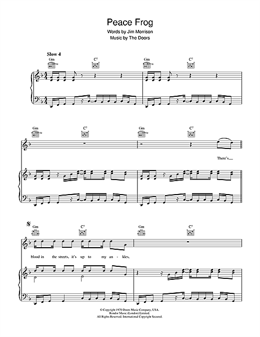 Peace Frog sheet music by The Doors (Piano, Vocal & Guitar ...