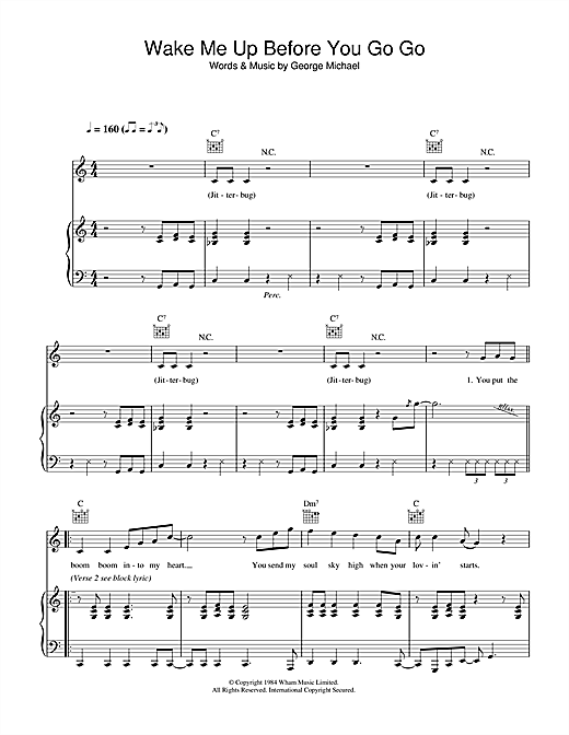 Wake Me Up Before You Go Go Sheet Music