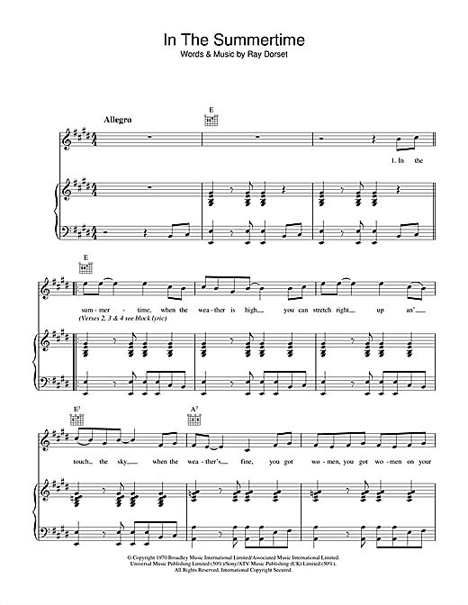 In The Summertime (Piano, Vocal & Guitar)