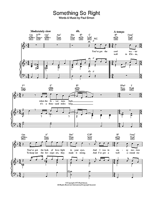 Something So Right Sheet Music