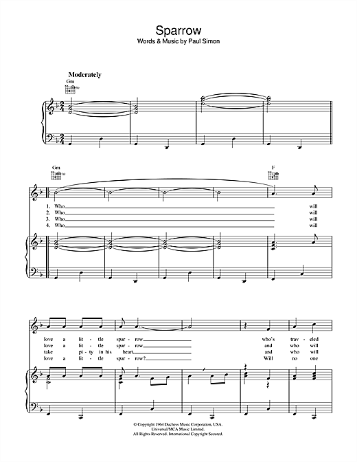 Sparrow Sheet Music