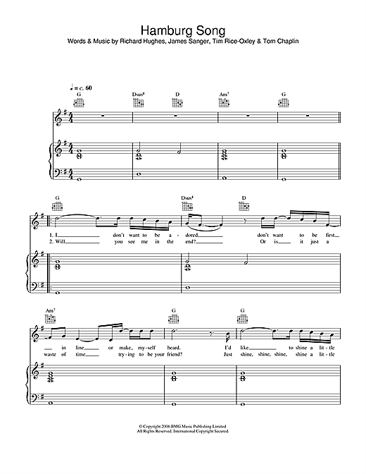 Hamburg Song Sheet Music