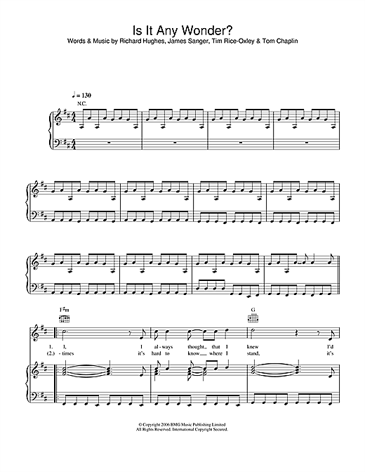 Is It Any Wonder? (Piano, Vocal & Guitar (Right-Hand Melody))