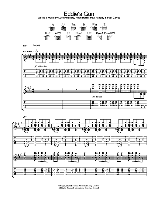 Tablature guitare Eddie's Gun de The Kooks - Tablature Guitare
