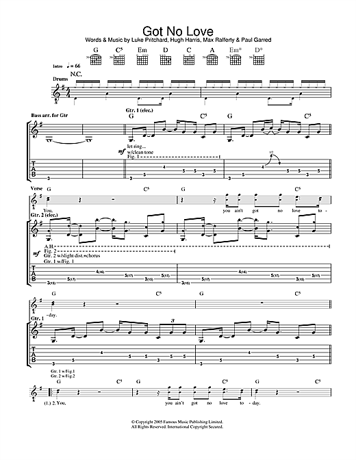 Tablature guitare Got No Love de The Kooks - Tablature Guitare