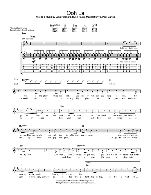 Tablature guitare Ooh La de The Kooks - Tablature Guitare